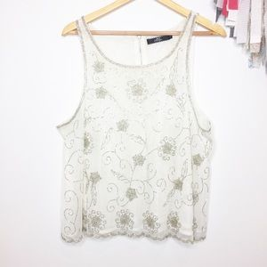 BKE Boutique white embellished sequin Top. XL